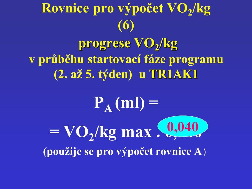 progrese VO 2 /kg TR1AK1 Rovnice pro výpočet VO 2 /kg (6) progrese VO 2 /kg v průběhu startovací fáze programu (2. až 5. týden) u TR1AK1 P A (ml) = =