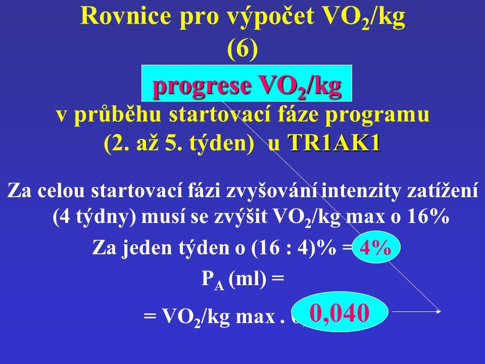 progrese VO 2 /kg TR1AK1 Rovnice pro výpočet VO 2 /kg (6) progrese VO 2 /kg v průběhu startovací fáze programu (2. až 5. týden) u TR1AK1 Za celou star