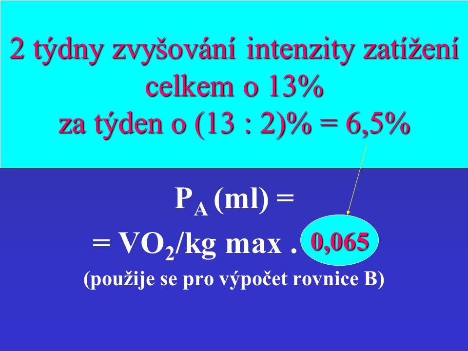 progrese VO 2 /kg TR1AK2 Rovnice pro výpočet VO 2 /kg (7) progrese VO 2 /kg v průběhu startovací fáze programu (2. a 3. týden) u TR1AK2 P A (ml) = = V