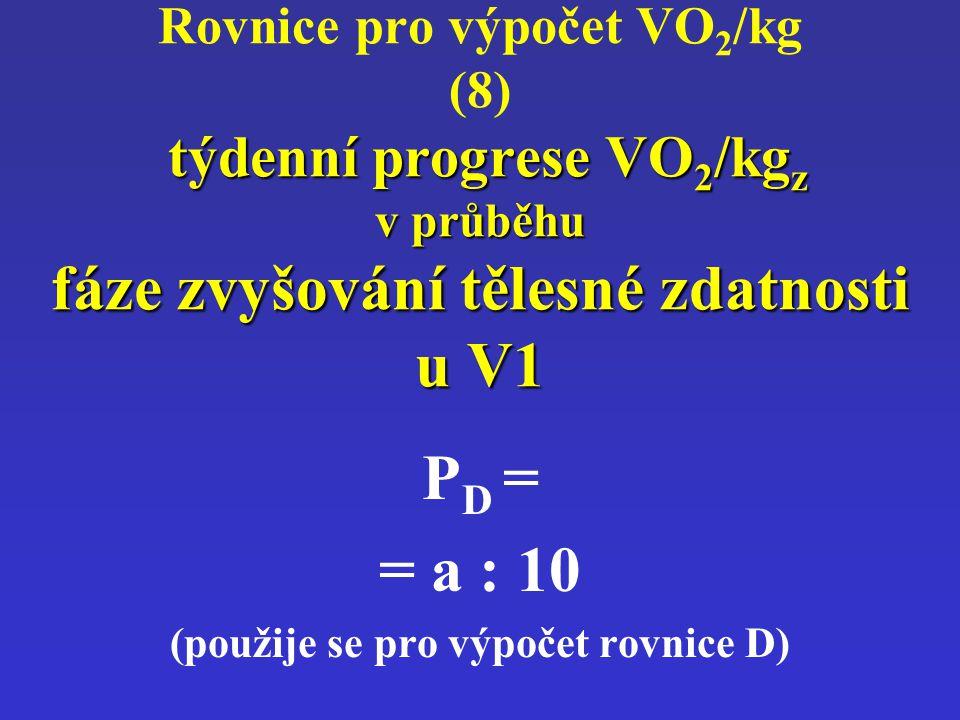 týdenní progrese VO 2 /kg z v průběhu fáze zvyšování tělesné zdatnosti u V1 Rovnice pro výpočet VO 2 /kg (8) týdenní progrese VO 2 /kg z v průběhu fáz
