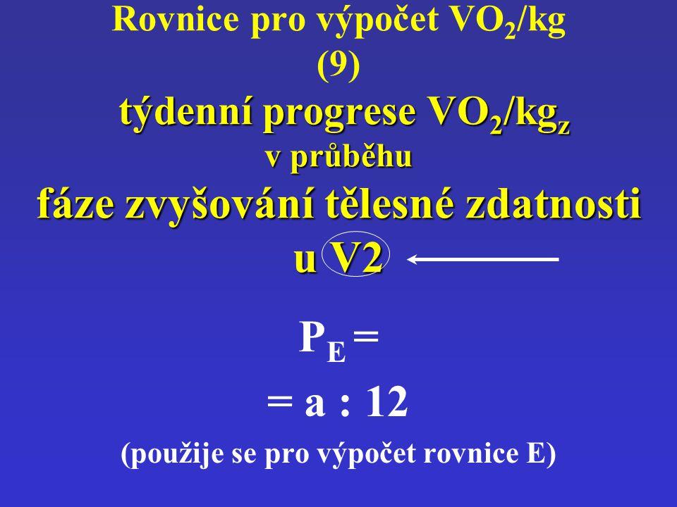 týdenní progrese VO 2 /kg z v průběhu fáze zvyšování tělesné zdatnosti u V2 Rovnice pro výpočet VO 2 /kg (9) týdenní progrese VO 2 /kg z v průběhu fáz