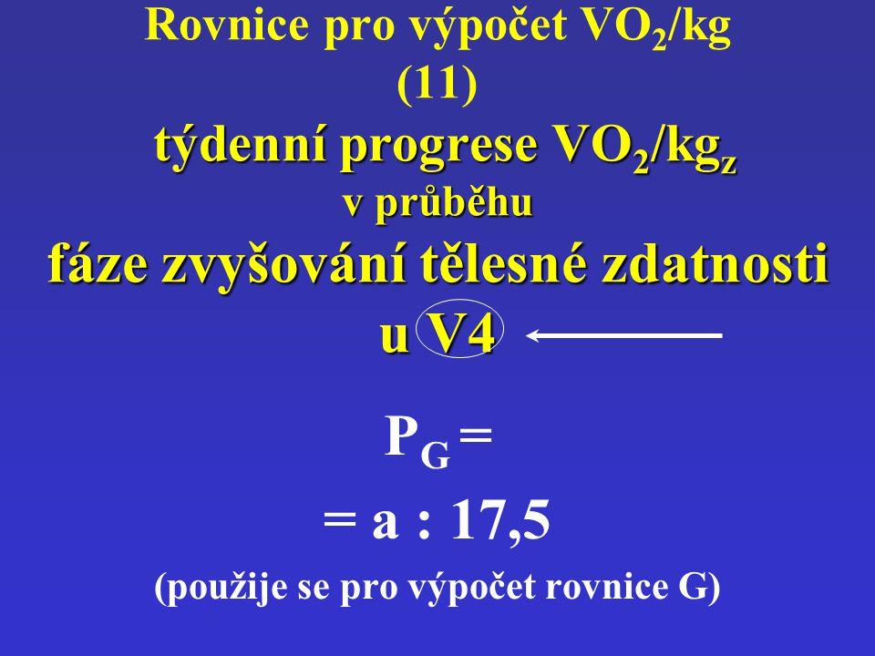 týdenní progrese VO 2 /kg z v průběhu fáze zvyšování tělesné zdatnosti u V4 Rovnice pro výpočet VO 2 /kg (11) týdenní progrese VO 2 /kg z v průběhu fá
