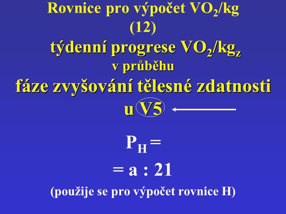 týdenní progrese VO 2 /kg z v průběhu fáze zvyšování tělesné zdatnosti u V5 Rovnice pro výpočet VO 2 /kg (12) týdenní progrese VO 2 /kg z v průběhu fá