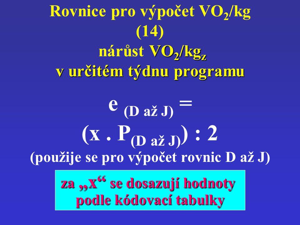 VO 2 /kg z v určitém týdnu programu Rovnice pro výpočet VO 2 /kg (14) nárůst VO 2 /kg z v určitém týdnu programu e (D až J) = (x. P (D až J) ) : 2 (po