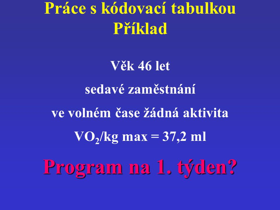 Práce s kódovací tabulkou Příklad Věk 46 let sedavé zaměstnání ve volném čase žádná aktivita VO 2 /kg max = 37,2 ml Program na 1. týden?