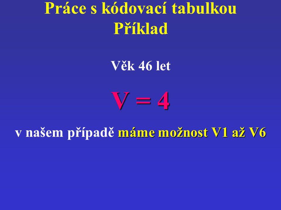 Práce s kódovací tabulkou Příklad Věk 46 let V = 4 máme možnost V1 až V6 v našem případě máme možnost V1 až V6