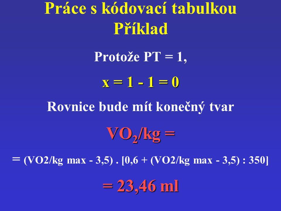 Práce s kódovací tabulkou Příklad Protože PT = 1, x = 1 - 1 = 0 Rovnice bude mít konečný tvar VO 2 /kg = = (VO2/kg max - 3,5). [0,6 + (VO2/kg max - 3,