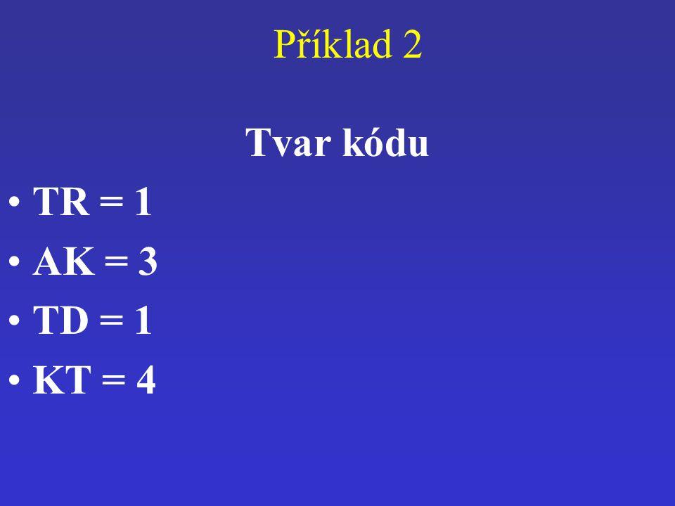 Příklad 2 Tvar kódu TR = 1 AK = 3 TD = 1 KT = 4