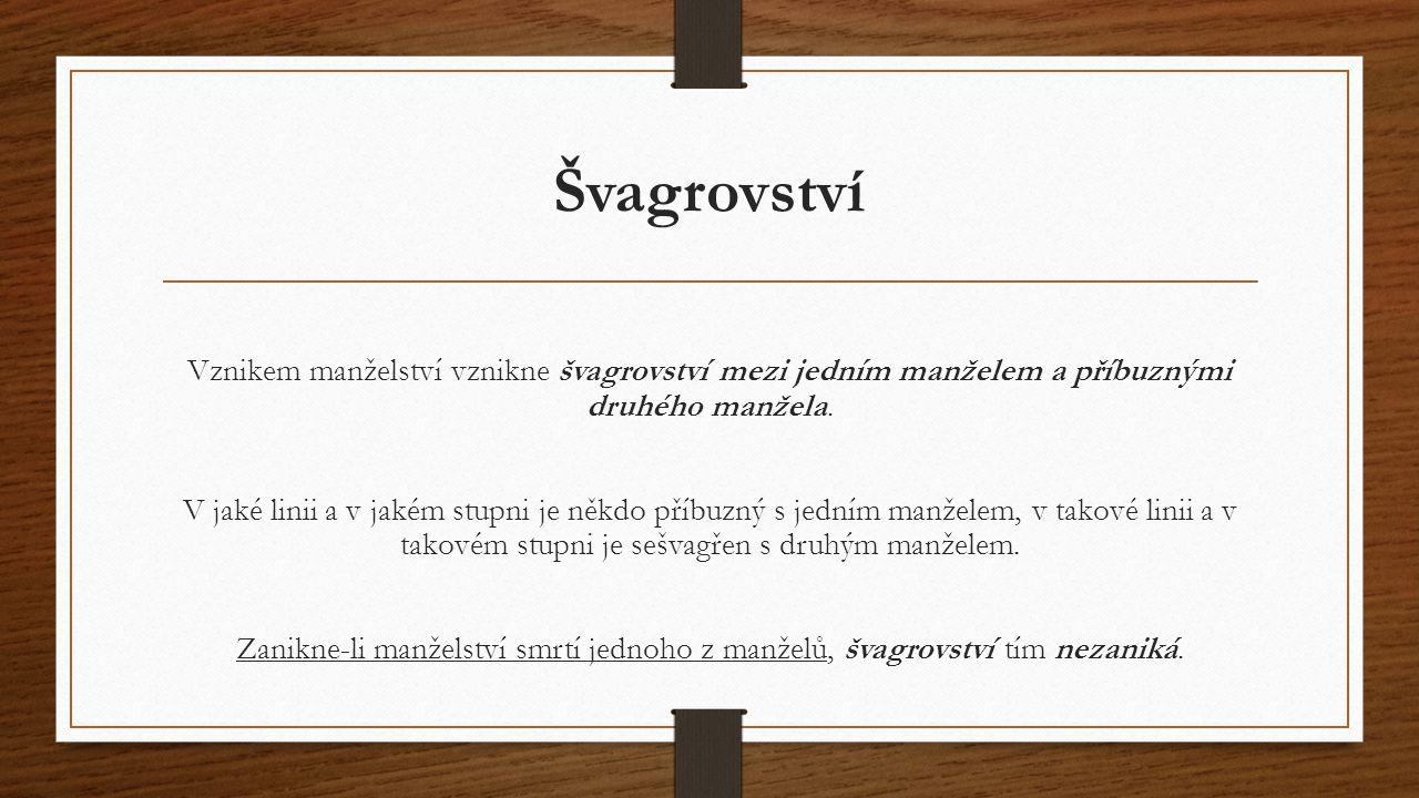 Švagrovství Vznikem manželství vznikne švagrovství mezi jedním manželem a příbuznými druhého manžela. V jaké linii a v jakém stupni je někdo příbuzný