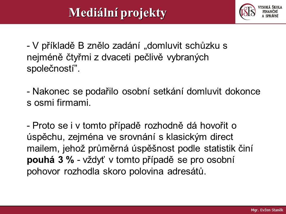 Mgr. Evžen Staněk Mediální projekty To, že příprava tiskových zpráv má v guerillových kampaních menších firem nižší prioritu, znamená, že úspěch se po
