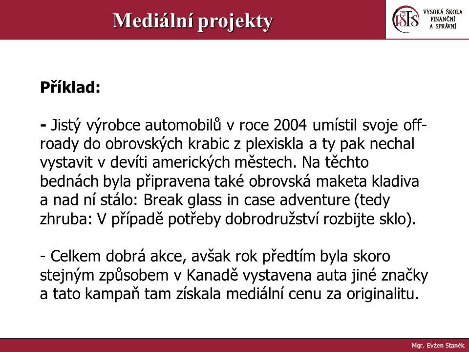 Mgr. Evžen Staněk Mediální projekty Guerillový marketing je... originální Pozornost je ovšem vzácným zbožím, kterého se v důsledku nešikovně vedených
