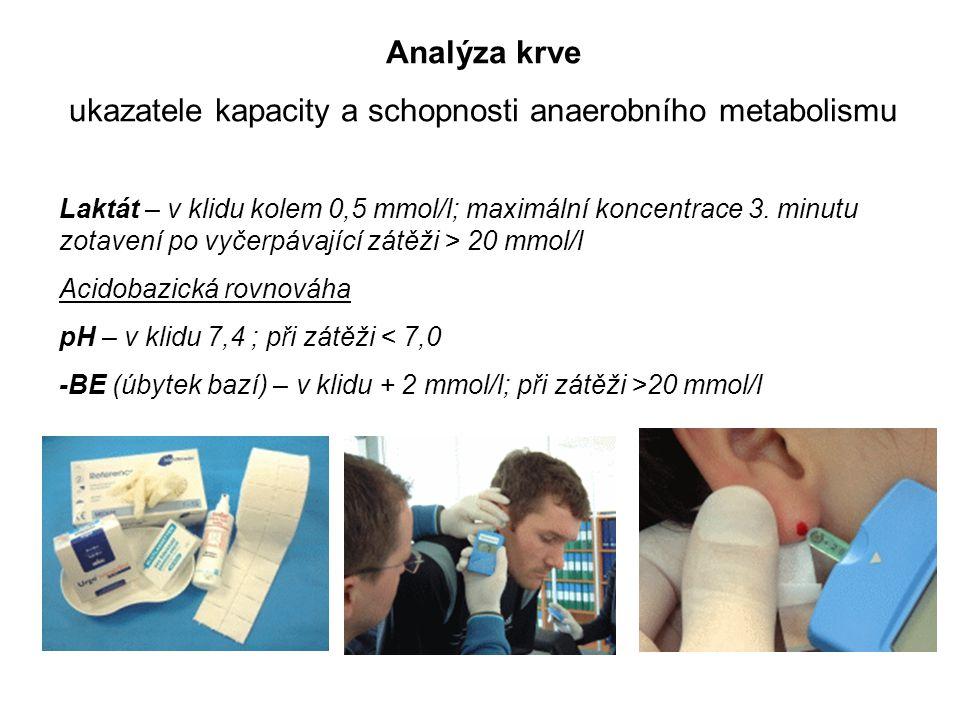 Analýza krve ukazatele kapacity a schopnosti anaerobního metabolismu Laktát – v klidu kolem 0,5 mmol/l; maximální koncentrace 3. minutu zotavení po vy