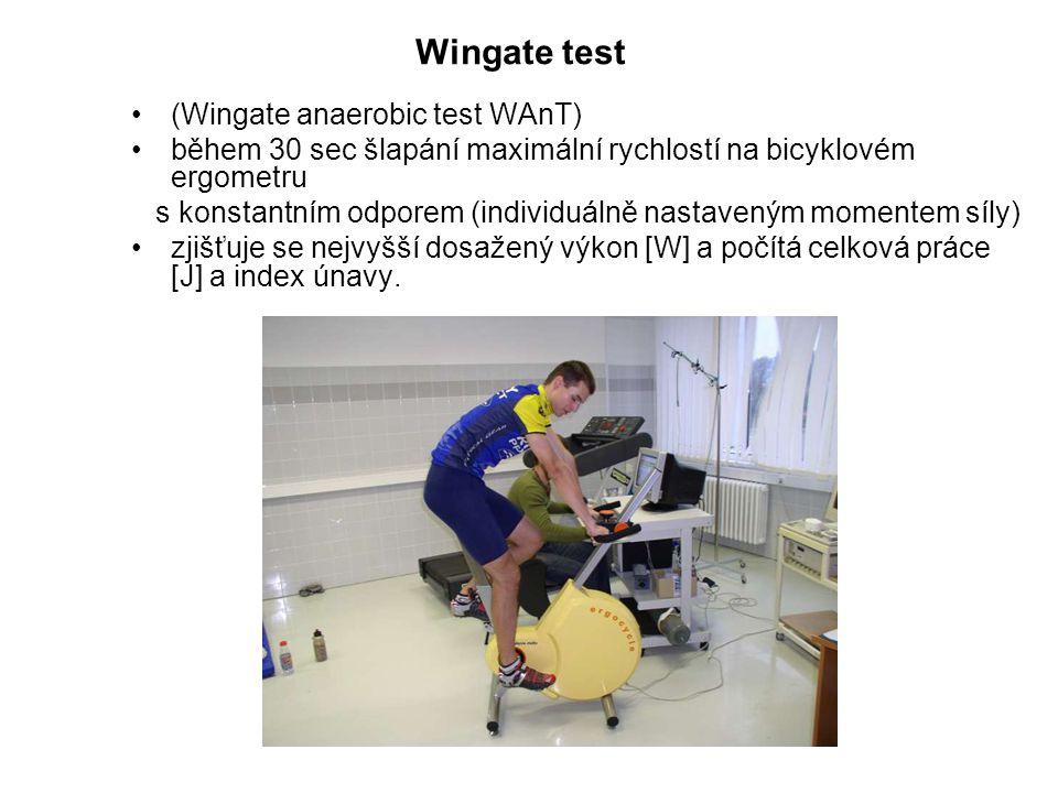 (Wingate anaerobic test WAnT) během 30 sec šlapání maximální rychlostí na bicyklovém ergometru s konstantním odporem (individuálně nastaveným momentem