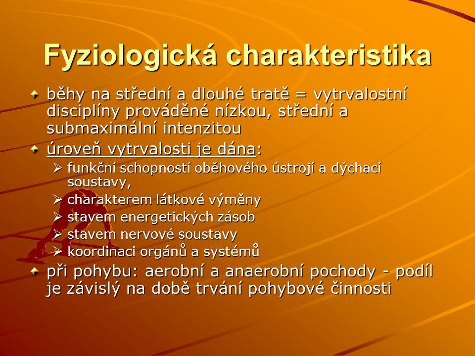 Fyziologická charakteristika běhy na střední a dlouhé tratě = vytrvalostní disciplíny prováděné nízkou, střední a submaximální intenzitou úroveň vytrv