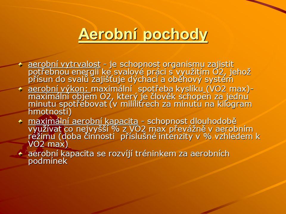 Aerobní pochody aerobní vytrvalost - je schopnost organismu zajistit potřebnou energii ke svalové práci s využitím O2, jehož přísun do svalů zajišťuje