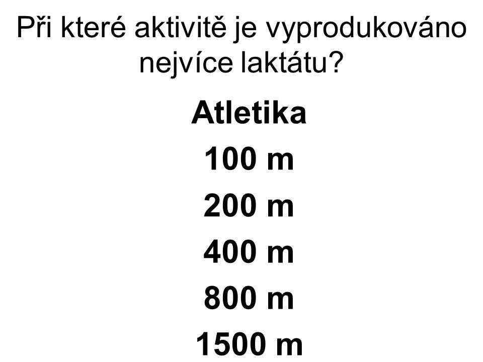 Při které aktivitě je vyprodukováno nejvíce laktátu Atletika 100 m 200 m 400 m 800 m 1500 m