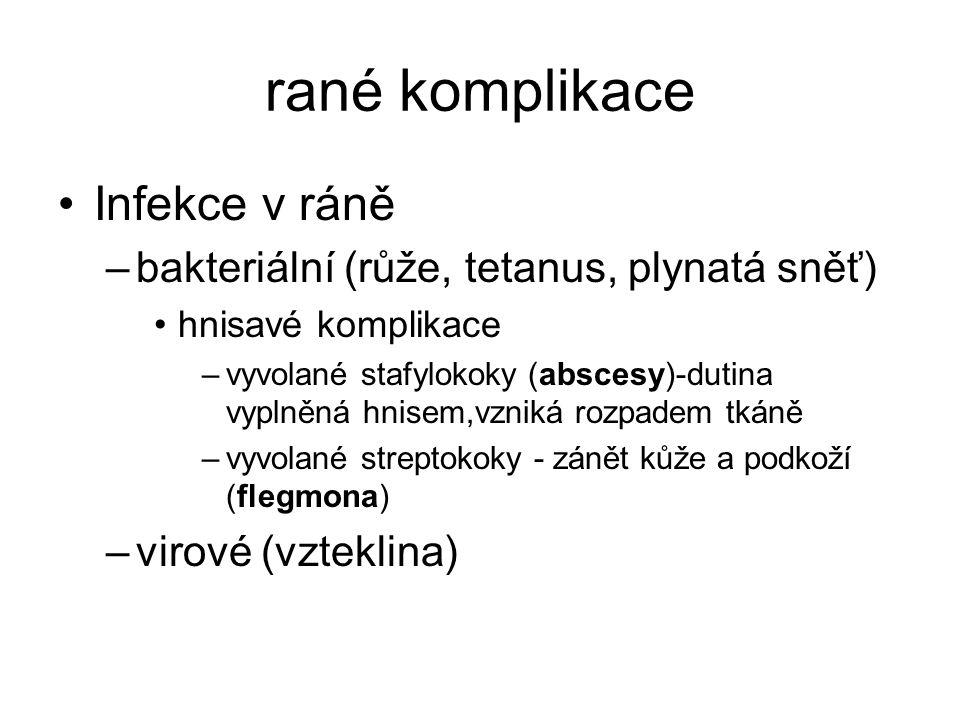 rané komplikace Infekce v ráně –bakteriální (růže, tetanus, plynatá sněť) hnisavé komplikace –vyvolané stafylokoky (abscesy)-dutina vyplněná hnisem,vzniká rozpadem tkáně –vyvolané streptokoky - zánět kůže a podkoží (flegmona) –virové (vzteklina)