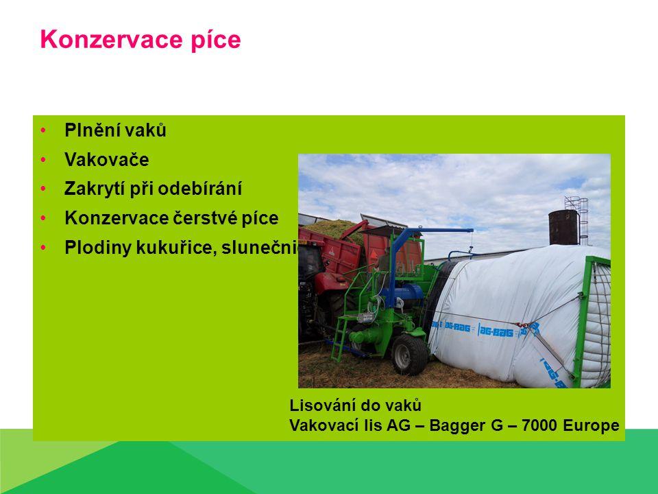 Konzervace píce Plnění vaků Vakovače Zakrytí při odebírání Konzervace čerstvé píce Plodiny kukuřice, slunečnice Lisování do vaků Vakovací lis AG – Bagger G – 7000 Europe