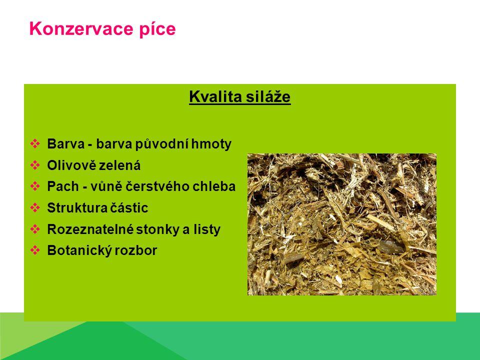 Konzervace píce Kvalita siláže  Barva - barva původní hmoty  Olivově zelená  Pach - vůně čerstvého chleba  Struktura částic  Rozeznatelné stonky a listy  Botanický rozbor