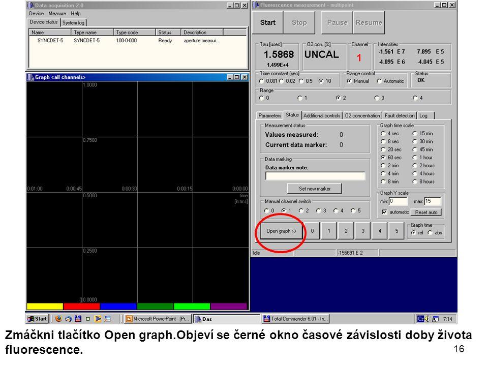 Zmáčkni tlačítko Open graph.Objeví se černé okno časové závislosti doby života fluorescence. 16