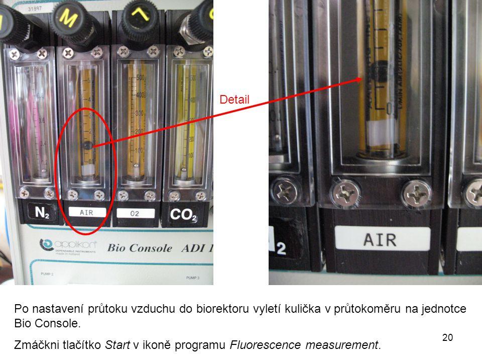 Po nastavení průtoku vzduchu do biorektoru vyletí kulička v průtokoměru na jednotce Bio Console.