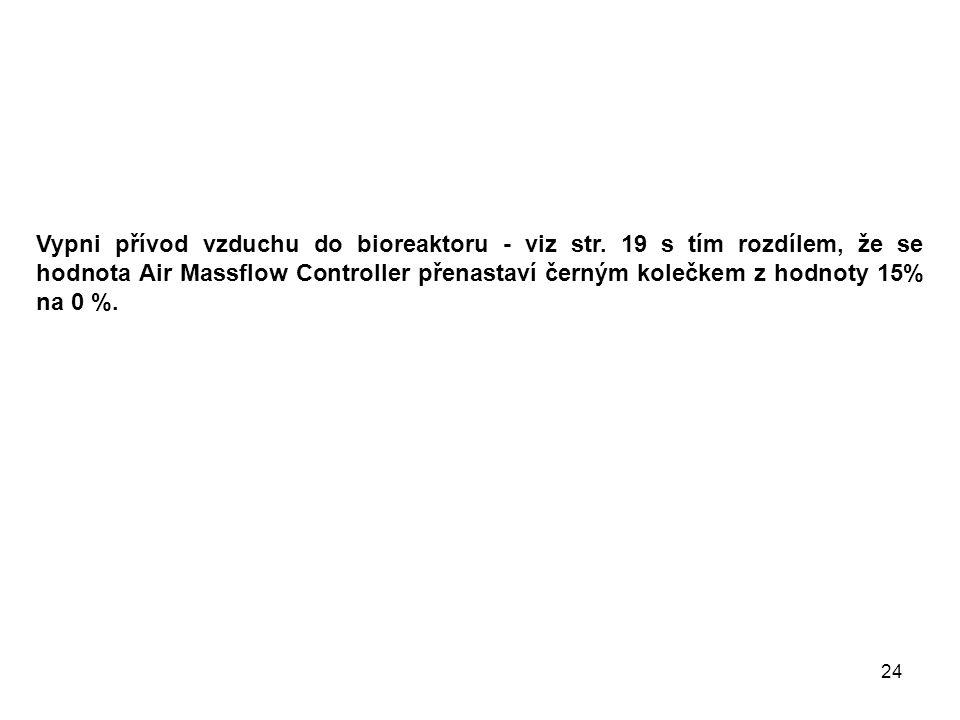 Vypni přívod vzduchu do bioreaktoru - viz str.