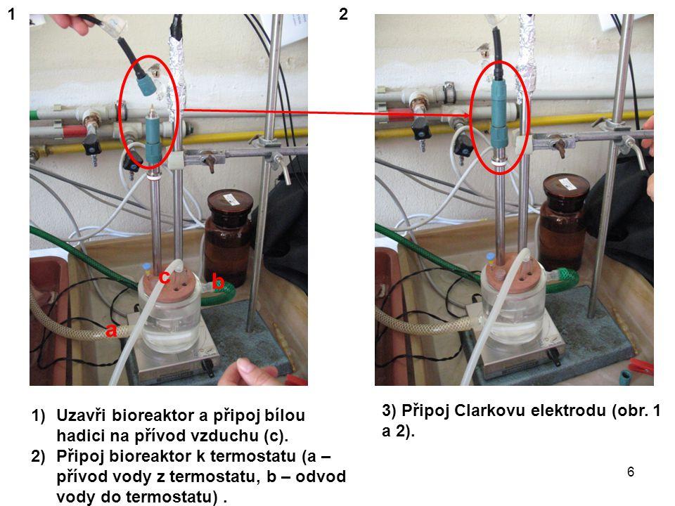 1)Zakryj zdroj záření a bioreaktor černým hadrem.2)Zapni termostat (označeno na obr.