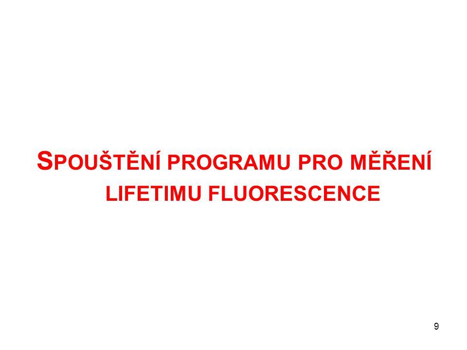 S POUŠTĚNÍ PROGRAMU PRO MĚŘENÍ LIFETIMU FLUORESCENCE 9