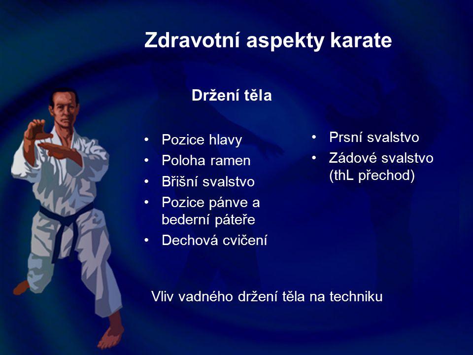 Zdravotní aspekty karate Držení těla Pozice hlavy Poloha ramen Břišní svalstvo Pozice pánve a bederní páteře Dechová cvičení Prsní svalstvo Zádové sva