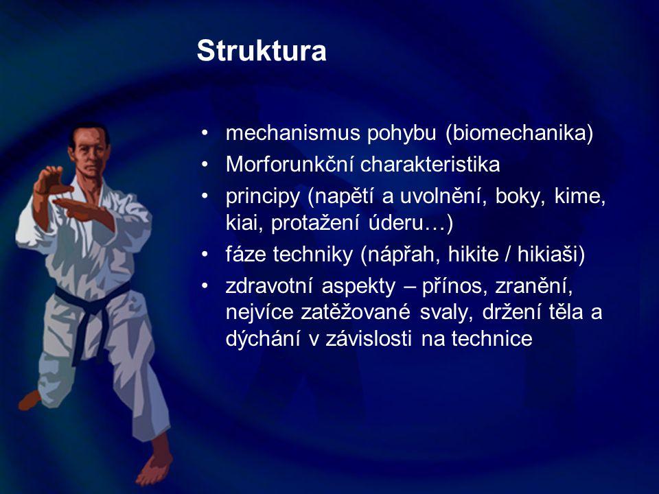 Zdravotní aspekty karate Držení těla Pozice hlavy Poloha ramen Břišní svalstvo Pozice pánve a bederní páteře Dechová cvičení Prsní svalstvo Zádové svalstvo (thL přechod) Vliv vadného držení těla na techniku