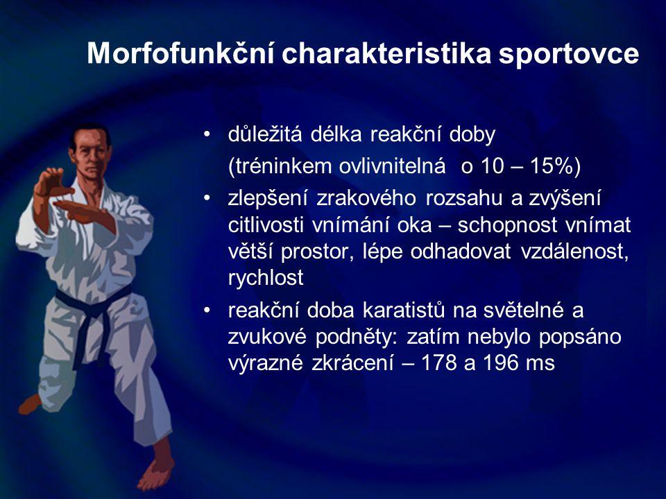 Morfofunkční charakteristika sportovce důležitá délka reakční doby (tréninkem ovlivnitelná o 10 – 15%) zlepšení zrakového rozsahu a zvýšení citlivosti
