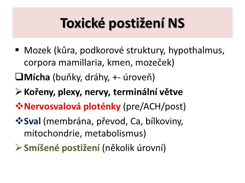 Toxické postižení NS  Mozek (kůra, podkorové struktury, hypothalmus, corpora mamillaria, kmen, mozeček)  Mícha (buňky, dráhy, +- úroveň)  Kořeny, plexy, nervy, terminální větve  Nervosvalová ploténky (pre/ACH/post)  Sval (membrána, převod, Ca, bílkoviny, mitochondrie, metabolismus)  Smíšené postižení (několik úrovní)