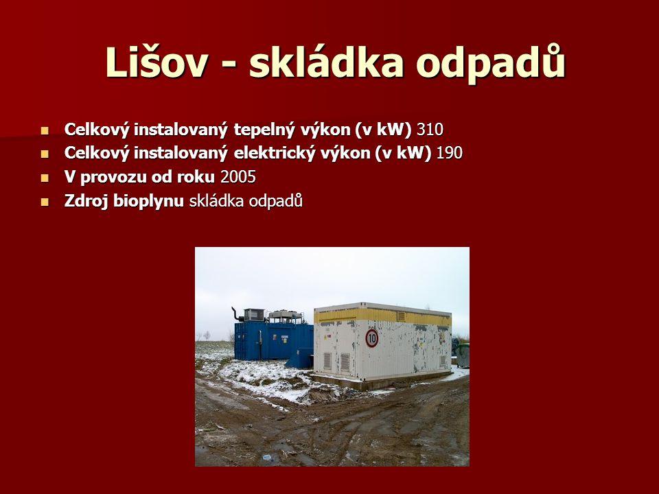 Lišov - skládka odpadů Lišov - skládka odpadů Celkový instalovaný tepelný výkon (v kW) 310 Celkový instalovaný tepelný výkon (v kW) 310 Celkový instal