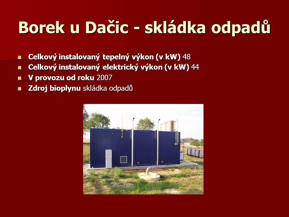 Borek u Dačic - skládka odpadů Celkový instalovaný tepelný výkon (v kW) 48 Celkový instalovaný tepelný výkon (v kW) 48 Celkový instalovaný elektrický