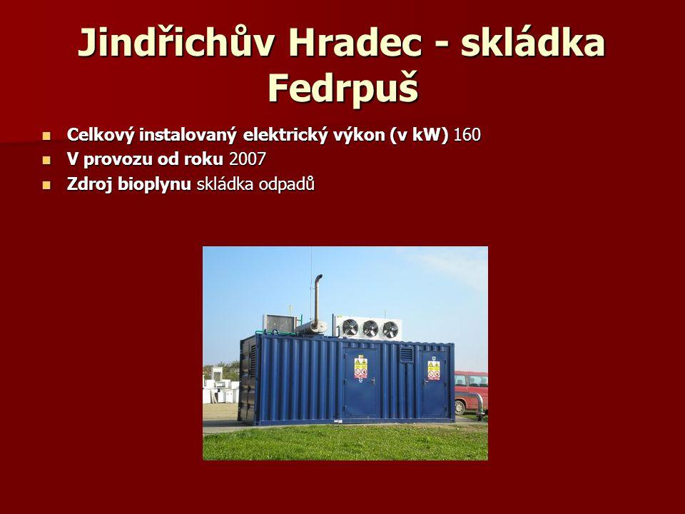 Jindřichův Hradec - skládka Fedrpuš Celkový instalovaný elektrický výkon (v kW) 160 Celkový instalovaný elektrický výkon (v kW) 160 V provozu od roku