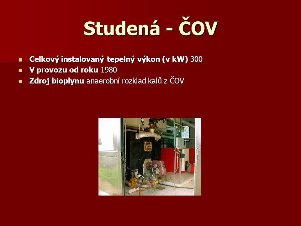 Studená - ČOV Celkový instalovaný tepelný výkon (v kW) 300 Celkový instalovaný tepelný výkon (v kW) 300 V provozu od roku 1980 V provozu od roku 1980