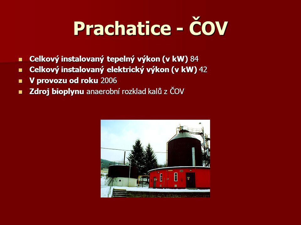 Prachatice - ČOV Celkový instalovaný tepelný výkon (v kW) 84 Celkový instalovaný tepelný výkon (v kW) 84 Celkový instalovaný elektrický výkon (v kW) 4
