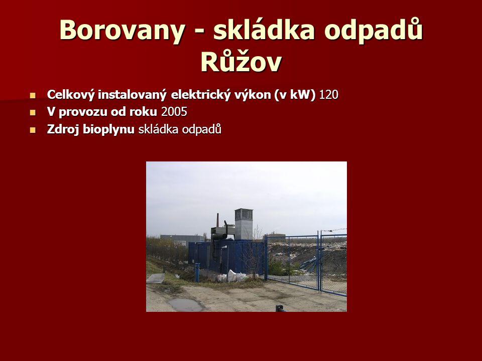 Borovany - skládka odpadů Růžov Celkový instalovaný elektrický výkon (v kW) 120 Celkový instalovaný elektrický výkon (v kW) 120 V provozu od roku 2005