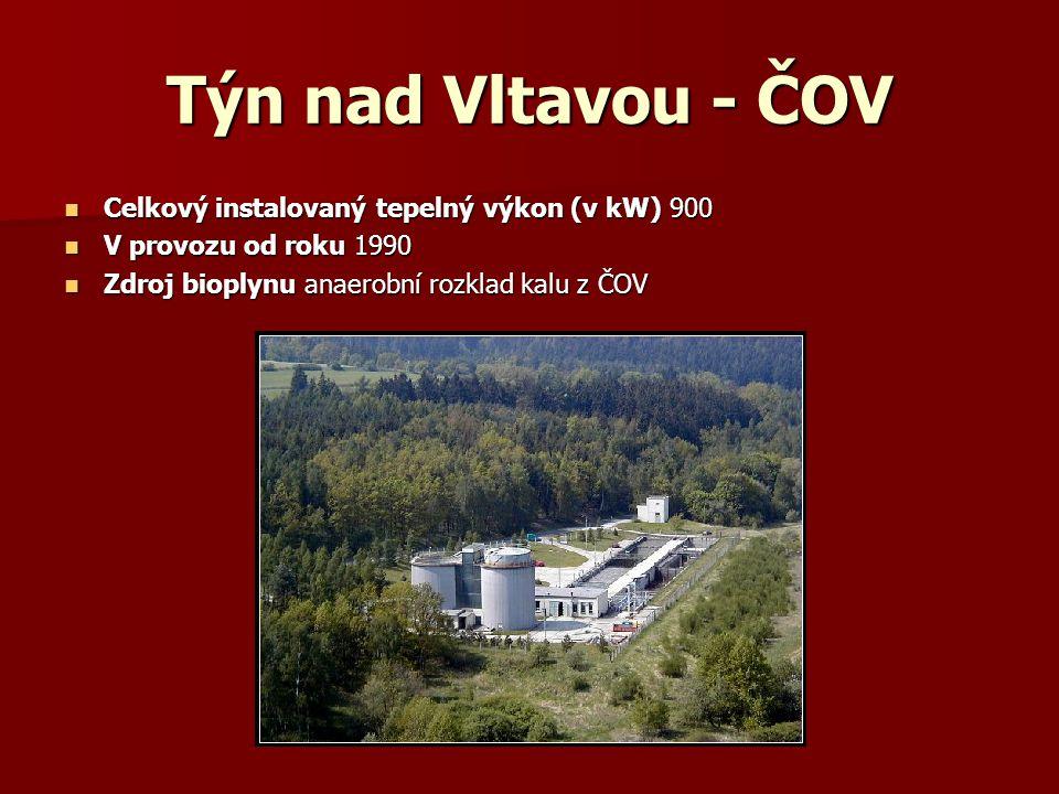 Týn nad Vltavou - ČOV Celkový instalovaný tepelný výkon (v kW) 900 Celkový instalovaný tepelný výkon (v kW) 900 V provozu od roku 1990 V provozu od ro