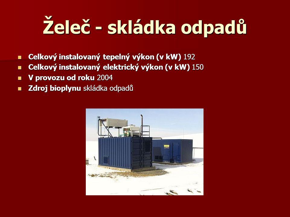 Želeč - skládka odpadů Celkový instalovaný tepelný výkon (v kW) 192 Celkový instalovaný tepelný výkon (v kW) 192 Celkový instalovaný elektrický výkon
