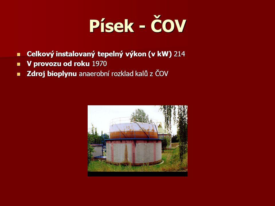 Písek - ČOV Celkový instalovaný tepelný výkon (v kW) 214 Celkový instalovaný tepelný výkon (v kW) 214 V provozu od roku 1970 V provozu od roku 1970 Zd