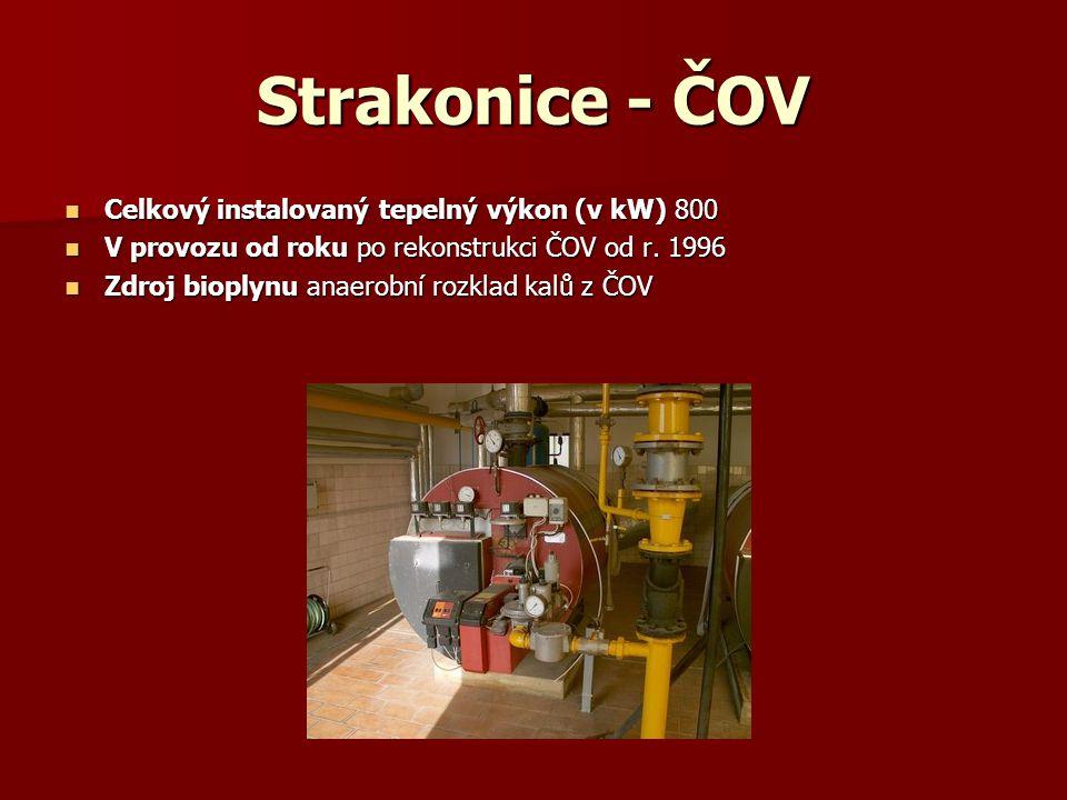 Tábor - ČOV Celkový instalovaný tepelný výkon (v kW) 885 Celkový instalovaný tepelný výkon (v kW) 885 Celkový instalovaný elektrický výkon (v kW) 120 Celkový instalovaný elektrický výkon (v kW) 120 V provozu od roku 1991 - vyhřívání nádrží, 1998 – kogenerace V provozu od roku 1991 - vyhřívání nádrží, 1998 – kogenerace Zdroj bioplynu kalové hospodářství ČOV Zdroj bioplynu kalové hospodářství ČOV