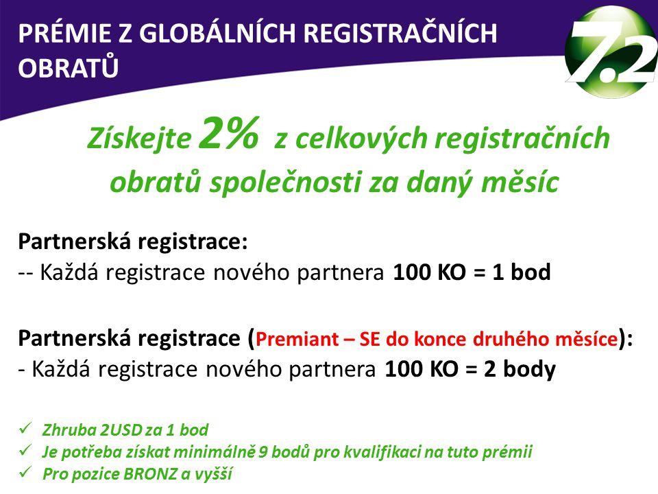 Získejte 2% z celkových registračních obratů společnosti za daný měsíc Partnerská registrace: -- Každá registrace nového partnera 100 KO = 1 bod Partnerská registrace ( Premiant – SE do konce druhého měsíce ): - Každá registrace nového partnera 100 KO = 2 body Zhruba 2USD za 1 bod Je potřeba získat minimálně 9 bodů pro kvalifikaci na tuto prémii Pro pozice BRONZ a vyšší PRÉMIE Z GLOBÁLNÍCH REGISTRAČNÍCH OBRATŮ
