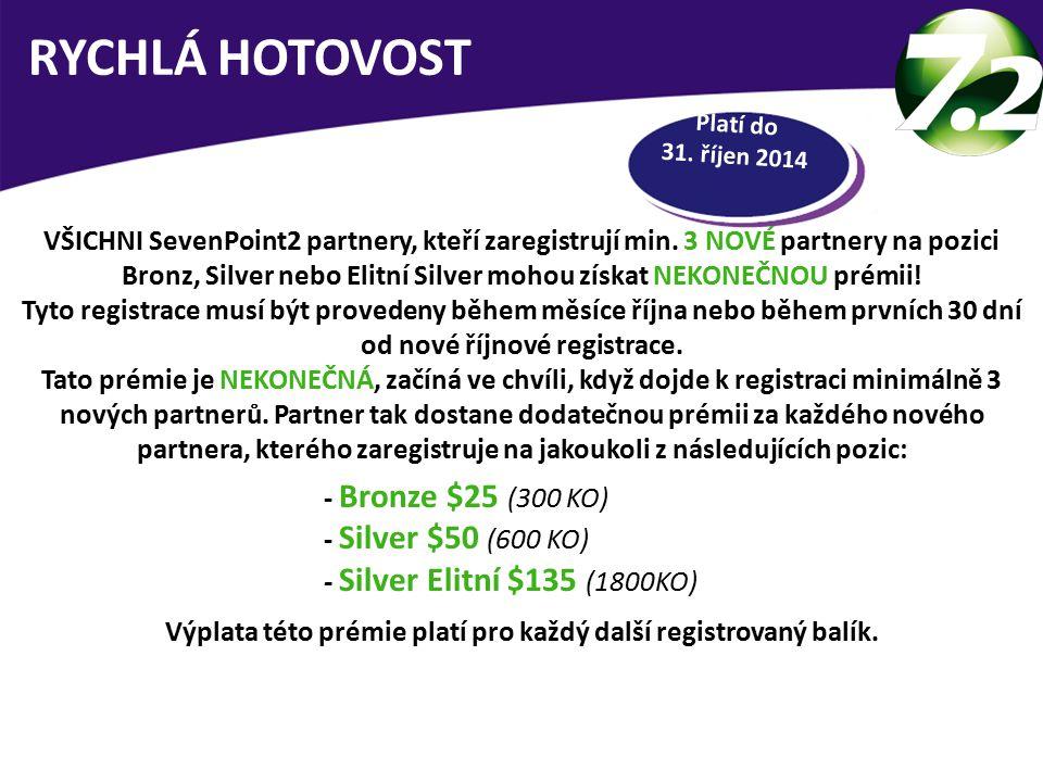 Platí do 31.říjen 2014 RYCHLÁ HOTOVOST VŠICHNI SevenPoint2 partnery, kteří zaregistrují min.