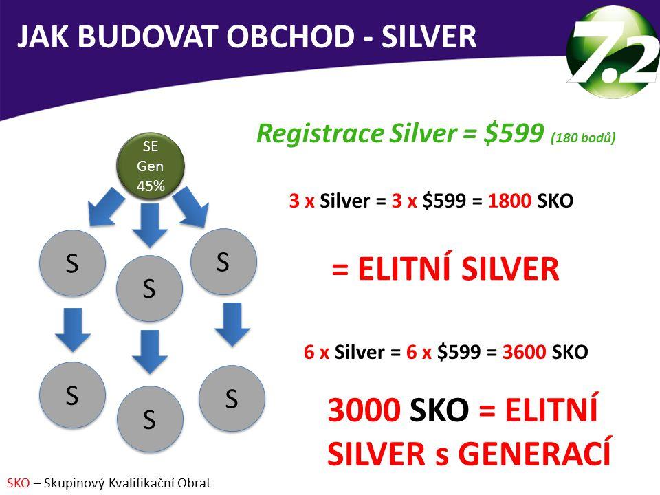 3 x Silver = 3 x $599 = 1800 SKO = ELITNÍ SILVER JAK BUDOVAT OBCHOD - SILVER Registrace Silver = $599 (180 bodů) 6 x Silver = 6 x $599 = 3600 SKO 3000 SKO = ELITNÍ SILVER s GENERACÍ SKO – Skupinový Kvalifikační Obrat S 30% S 30% S S S S S S S S S S S S SE 45% SE 45% SE Gen 45% SE Gen 45%