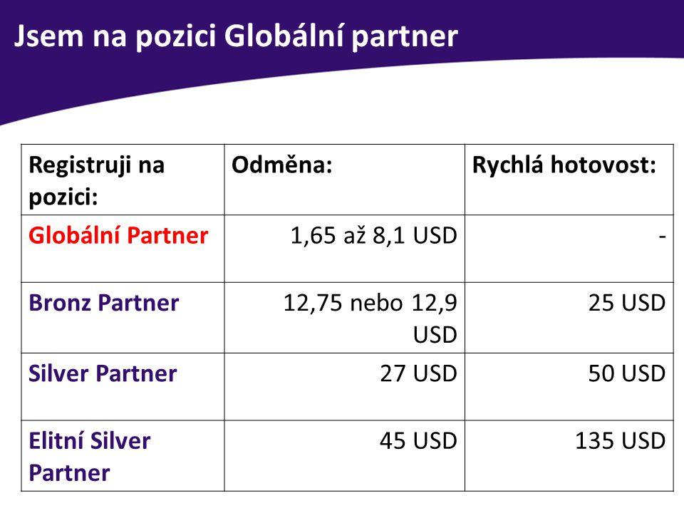 Jsem na pozici Globální partner Registruji na pozici: Odměna:Rychlá hotovost: Globální Partner1,65 až 8,1 USD- Bronz Partner12,75 nebo 12,9 USD 25 USD Silver Partner27 USD50 USD Elitní Silver Partner 45 USD135 USD