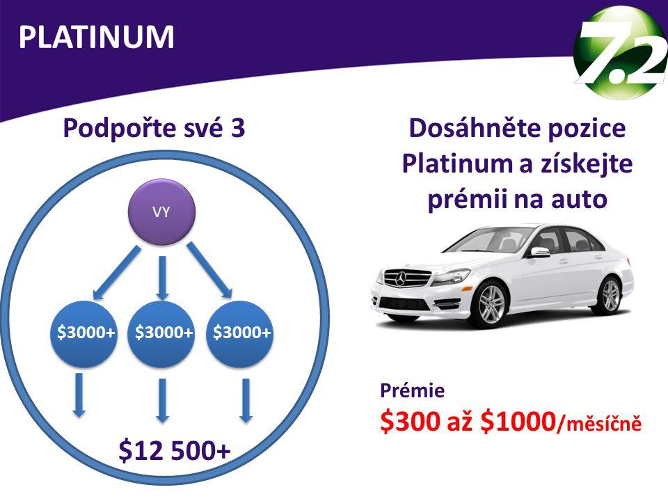 VY $12 500+ Podpořte své 3 PLATINUM $3000+ Dosáhněte pozice Platinum a získejte prémii na auto Prémie $300 až $1000 /měsíčně