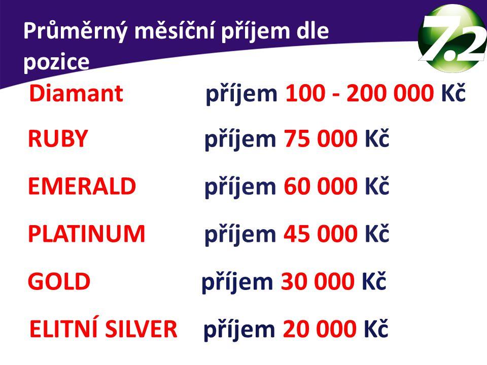 Průměrný měsíční příjem dle pozice ELITNÍ SILVER příjem 20 000 Kč GOLD příjem 30 000 Kč PLATINUM příjem 45 000 Kč EMERALD příjem 60 000 Kč RUBY příjem 75 000 Kč Diamant příjem 100 - 200 000 Kč