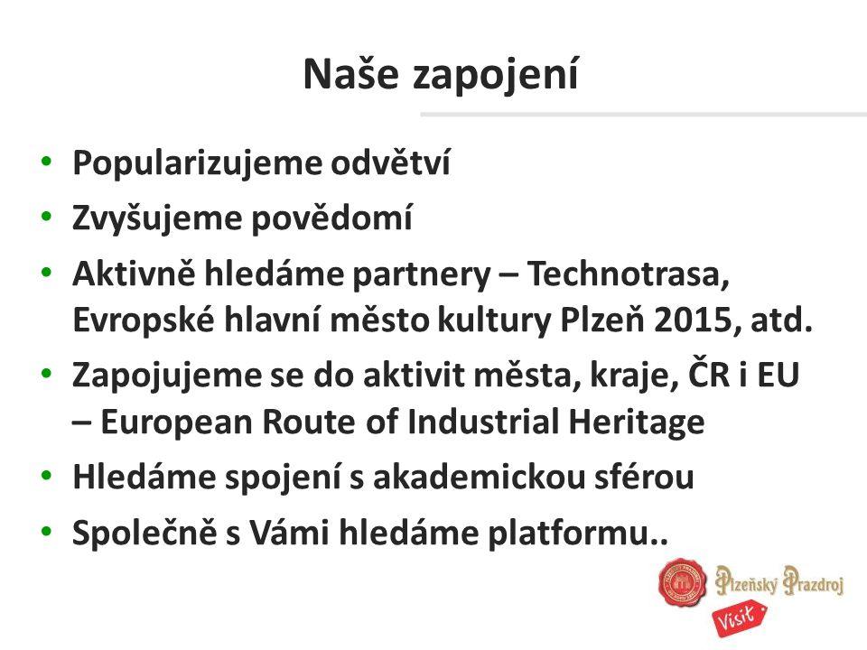 Naše zapojení Popularizujeme odvětví Zvyšujeme povědomí Aktivně hledáme partnery – Technotrasa, Evropské hlavní město kultury Plzeň 2015, atd.