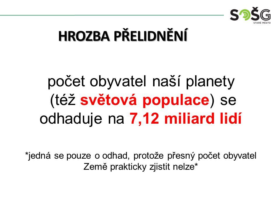HROZBA PŘELIDNĚNÍ počet obyvatel naší planety (též světová populace) se odhaduje na 7,12 miliard lidí *jedná se pouze o odhad, protože přesný počet obyvatel Země prakticky zjistit nelze*